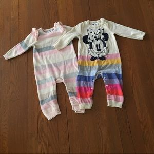 2 Rompers. 1 Disney and pink stripe.